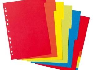 Jeux de 12 intercalaires en carton format 21x29,7 cm