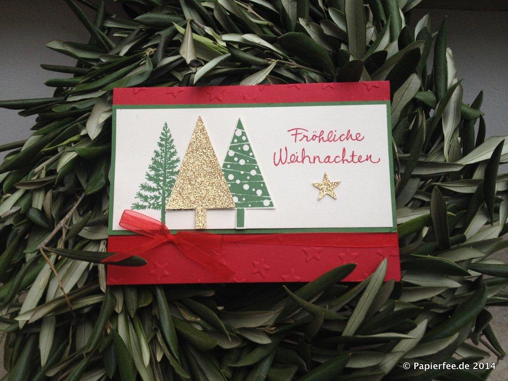 eine klassische weihnachtskarte in rot gr n gold. Black Bedroom Furniture Sets. Home Design Ideas
