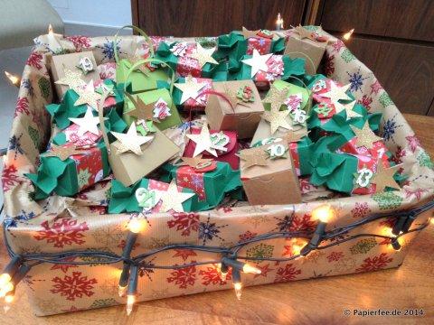 Stampin Up, Adventskalender, Knallbonbon, Sterne, Glitzerpapier, Gartengrün, Handtasche, Mini Geschenkschachtel
