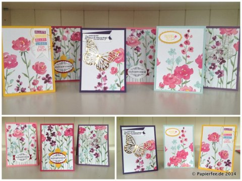 "Stampin'Up! Designerpapier ""Zarter Frühling"", Thinlit Form Schmetterlinge, Goldfolie,"