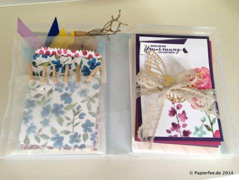 """Stampin'Up!, Box für Holzstempel, Designerpapier """"Zarter Frühling"""", Thinlitsform Schmetterlinge, Thinlitsform Mini-Leckereientüte, Mini Wäscheklammern,"""