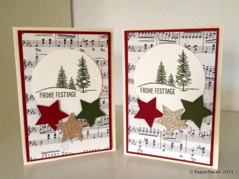 """Stampin'Up! Weihnachtskarte, Herbst-/Winterkatalog 2015, Chili, Waldmoos, Notenpapier DSP, Stempelset """"Fröhliche Stunden, Sterne"""