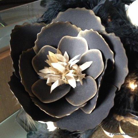 Stampin'Up! Silvester, Tischdekoration, Gesteck, Blumen, Blüten, BigZ L Bouquet, Schwarz, Gold, Vanille, Sterne