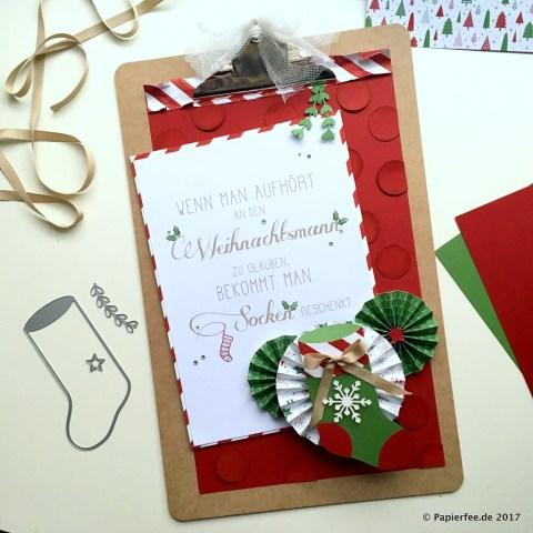 """Stampin'Up! Weihnachtsdekoration selbermachen, Klemmbrett gestalten, Workshopprojekt, Designerpapier """"Voller Vorfreude"""", Rosetten"""