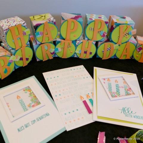 Stampin'Up! Thementisch, Frühjahrskatalog 2018, Perfekte Party, Designerpapier, Stempelset, Karten, Explosionsbox, Knallbonbons, Dekoration
