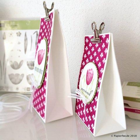 Stampin'Up! Frühling, Geschenktüten, Stanz und Falzbrett für Geschenktüten, Designerpapier, InColor 2016-2018, Sommerbeere, Tranquil Tulips