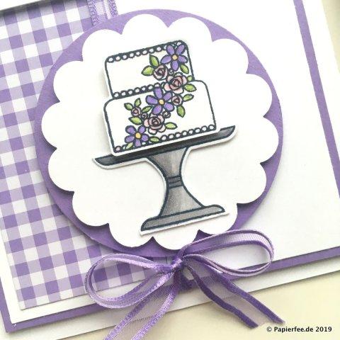Stampin'Up!, Gutscheinkarte, Gutschein verschenken, Stempelset Kuchen ist die Antwort, Designerpapier Gartenglück, Stampin'Blends
