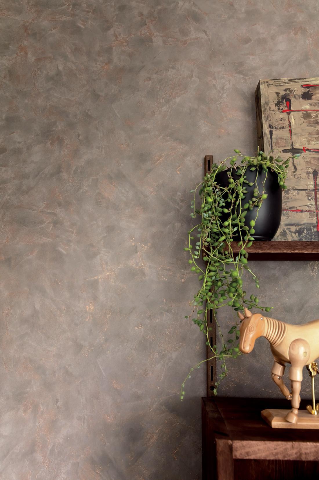 papier peint effet beton taupe cuivre