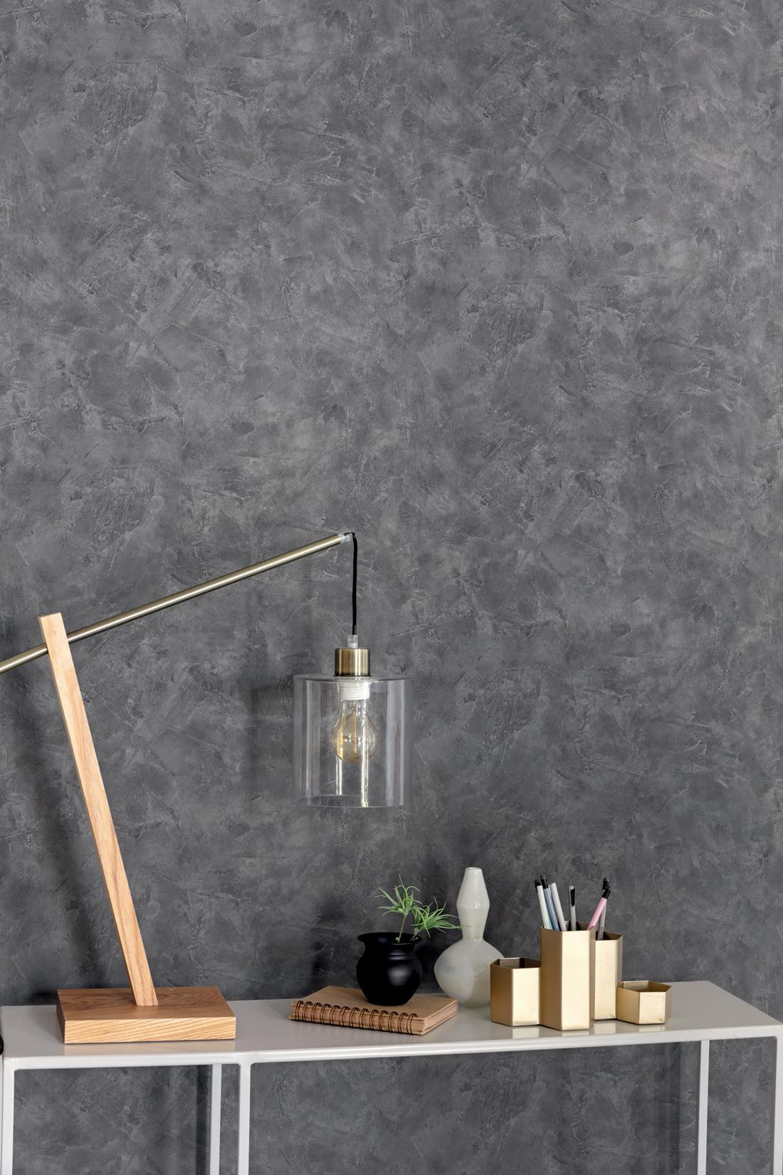 papier peint effet beton gris ardoise