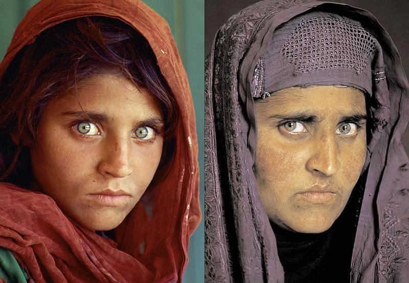 Sharbat Gula: na esquerda, em 1984; na direita, em 2014. Foto: Steve McCurry para National Geographic.
