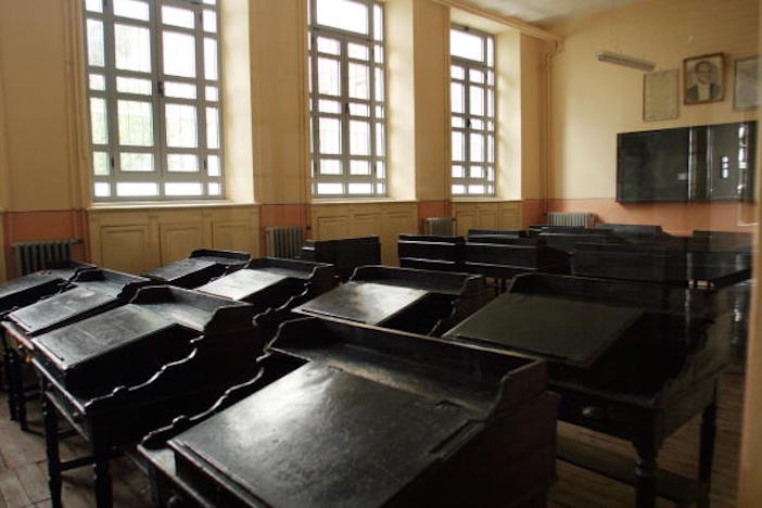 One of the many empty classrooms in the Halki Seminary.