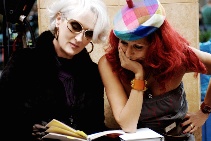 On the set of Devil Wears Prada with Meryl Streep. Patricia was nominated for an Oscar for her work on the film.