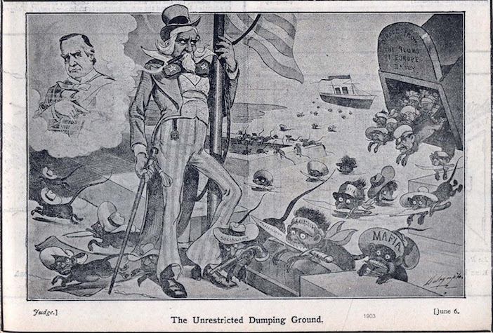 "America, the ""unrestricted dumping ground"" which depicted Greeks and other Eastern Europeans as animals."