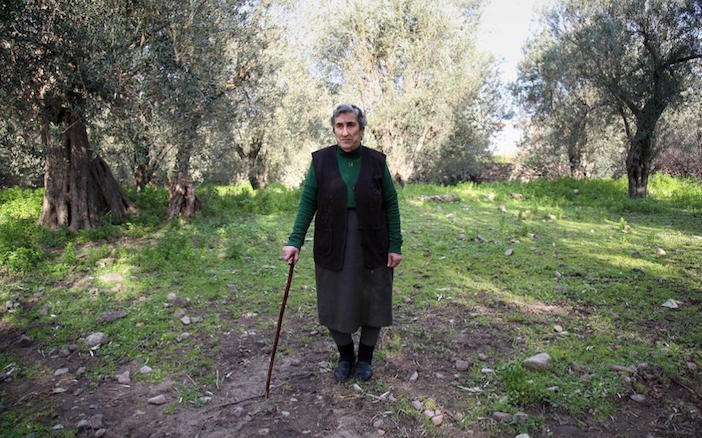 85-year-old Emilia Kamvisi, a grandmother whose photo went viral when she nursed a Syrian toddler (Photo: Kathimerini)