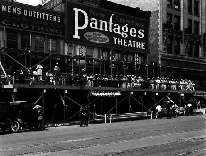 The construction of the Pantages Theater in Los Angeles in 1920