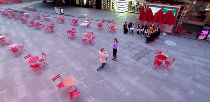 Ryan Serhant arranged to have Times Square completely void of people so he could be alone when he popped the question to Emilia Bechrakis