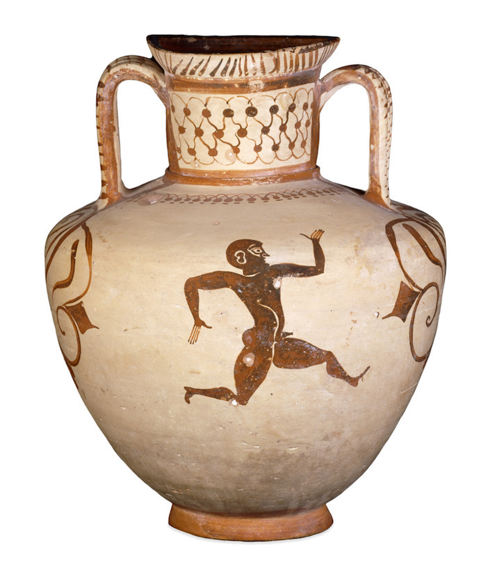 A vase uncovered in Rhodes depicting runners, on display at the British Museum.