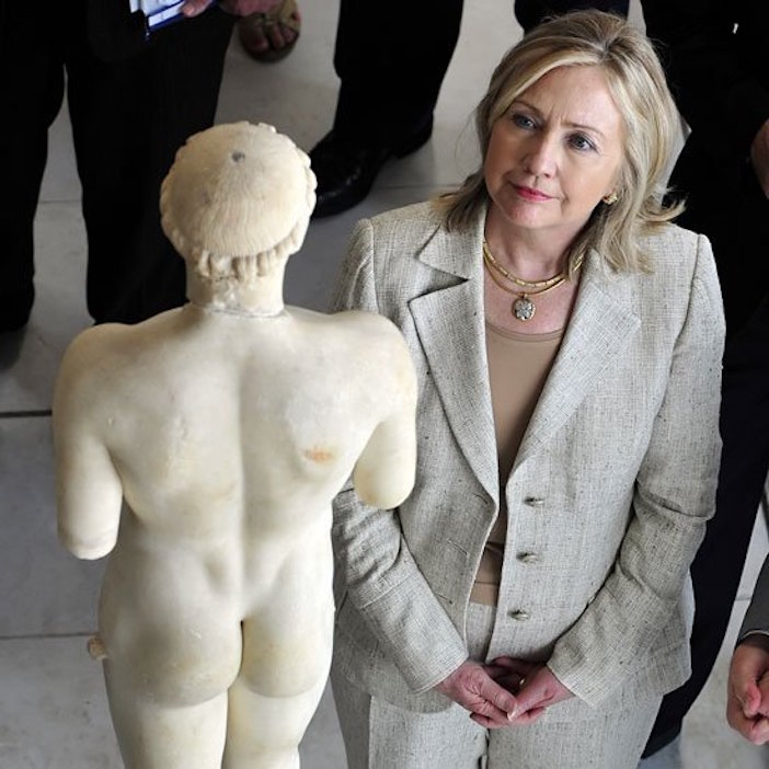 During a July 2011 trip to Greece as Secretary of State, Clinton visited the Acropolis Museum