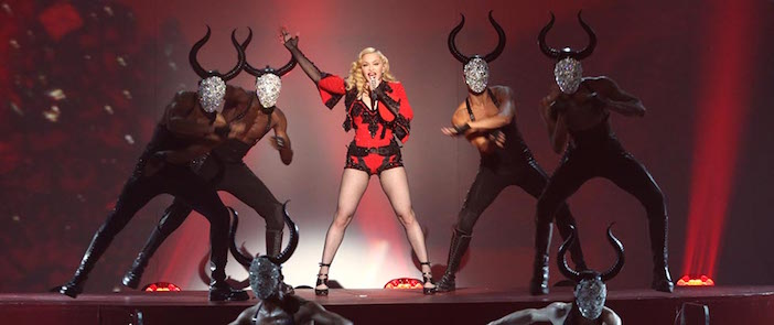 """Cretan minotaurs were the theme of her video and live performances of """"Living for Love."""""""