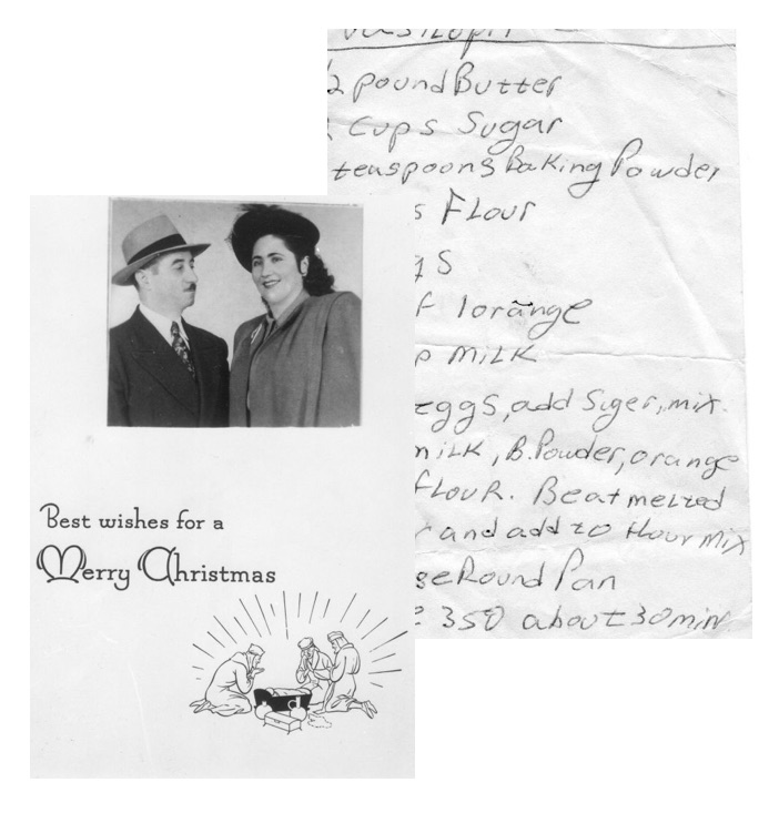 Mary's Thea Liza-- handwritten recipe and a vintage holiday card.