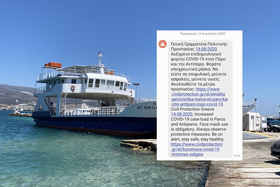 Government Warns Increased Case Loads on Paros, Antiparos; Introduces New Safety Measures