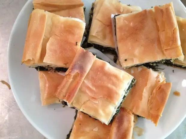 platter of spanakopita