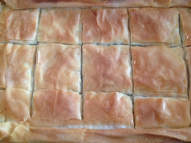 scored spanakopita for quick easy serving