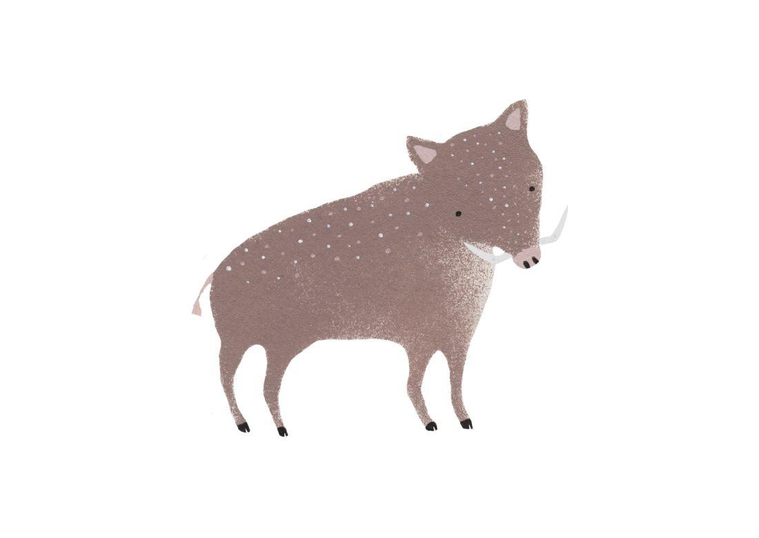 Wildschwein-Waldtierillustration-Eber