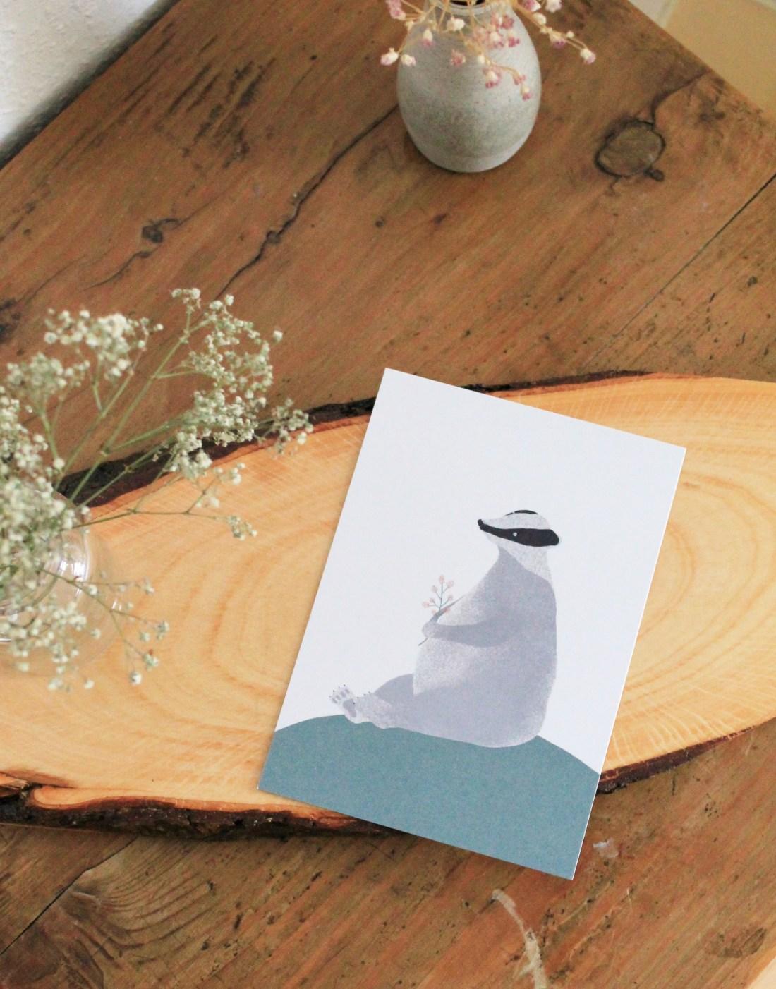 Dachs-Frühling-Frühlingsillustration-Pappia