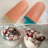Polo de ciruela y helado de platano