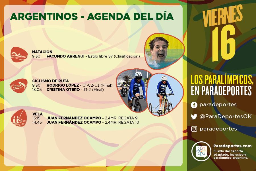 Juegos Paralímpicos Río 2016 – La agenda del viernes 16