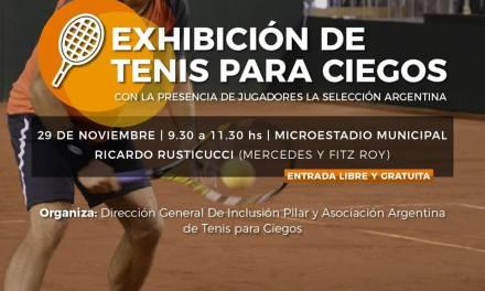 Tenis para ciegos: exhibición en Pilar