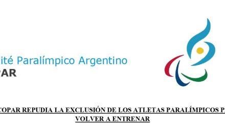 El COPAR repudia la exclusión de los atletas paralímpicos para volver a entrenar y hará denuncias ante el INADI y las Defensorías del Pueblo de la Nación y Ciudad