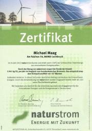 Naturstrom Zertifikat