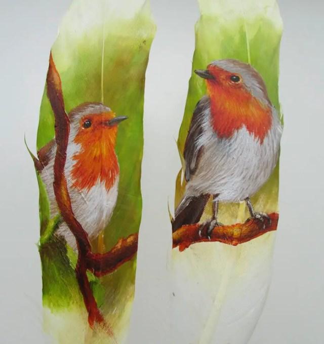 beschilderde veren