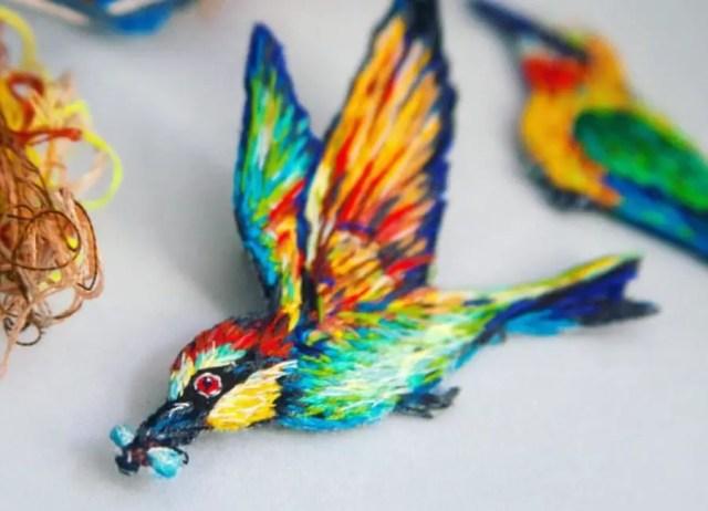 Borduurkunst vogel Fiance Knowles
