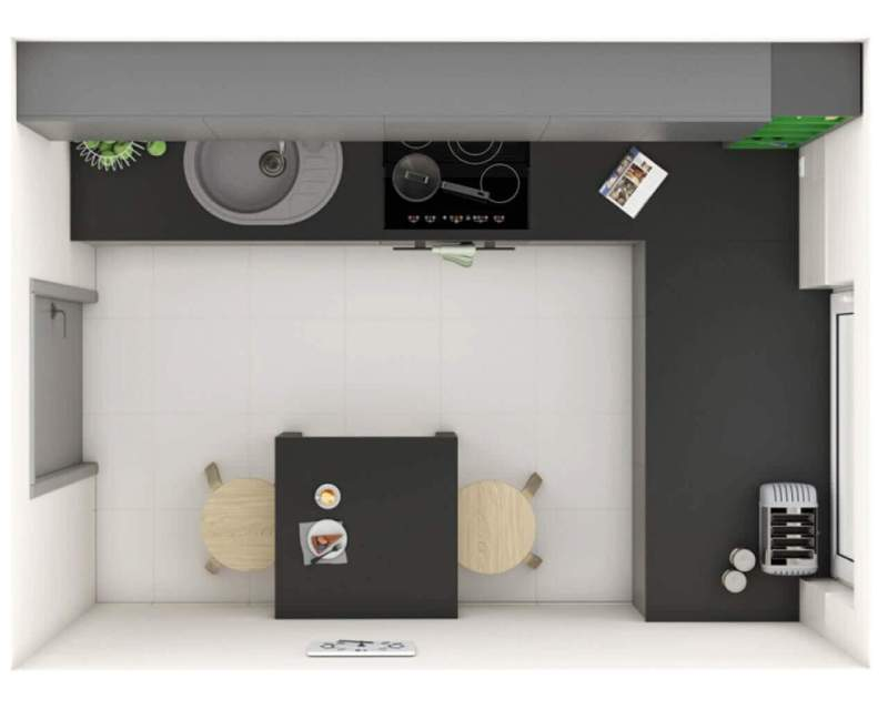 Aranżacja małej kuchni zwydzieloną przestrzenią jadalną
