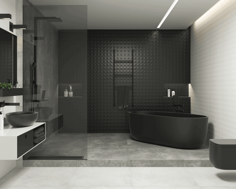 Black, white, light, and satin structure are the heroes of a modern bathroom.