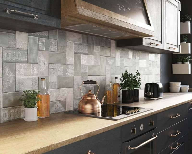 Modernised rustic style - kitchen in universal colours, beautifully varied with rustic additions.