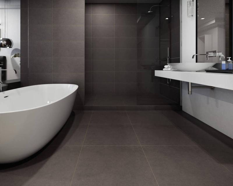 Deep grey in the bathroom next to the bedroom is a good, neutral choice we will not get bored with over the years.