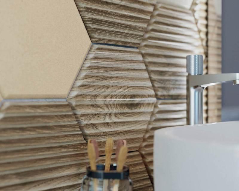 Motyw drewna napłytce wkształcie heksagonu dobrze sprawdzi się włazience.