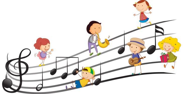 Niños jugando con notas musicales
