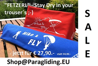 FETZERL AKTION Hike & Fly Edition, stay dry ;-) € 27,90.-
