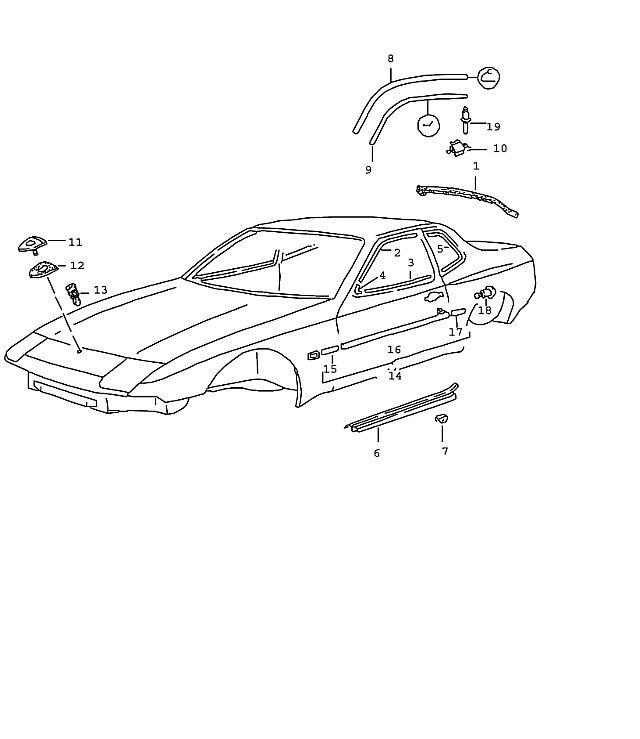 Porsche 944 Door Moulding