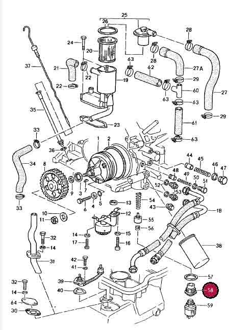 Porsche 928, Screw Plug for Oil Pressure Sender