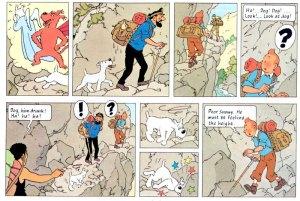 Hergé (TinTim) raramente usa ação para o fundo do quadro