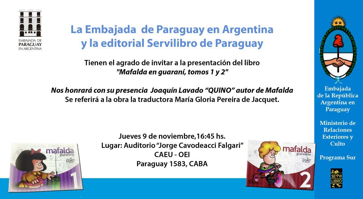 Mafalda En Guaraní Invitación De La Embajada Del Paraguay