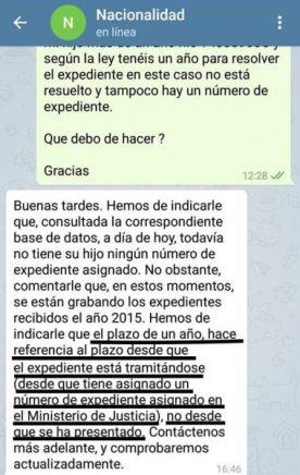 Admisión a trámite de los expedientes de nacionalidad española