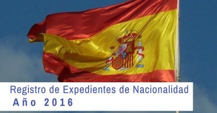 Registro Expedientes de Nacionalidad 2016. Estado actual y fecha.