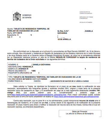 Tarjeta residencia temporal familiar de ciudadano UE Daniela Gecele